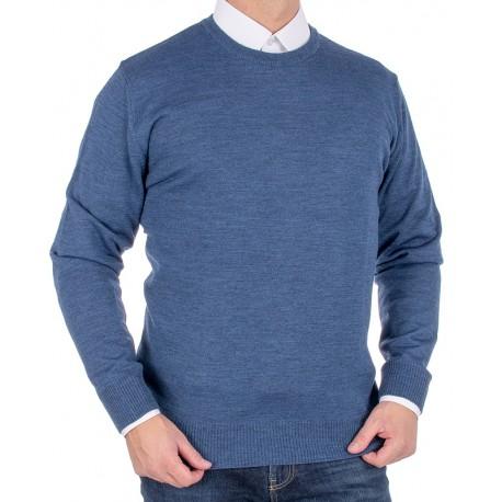 Jeansowy sweter wełniany Massimo pod szyję