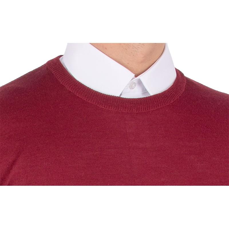 Bordowy sweter u-neck wełniany Massimo