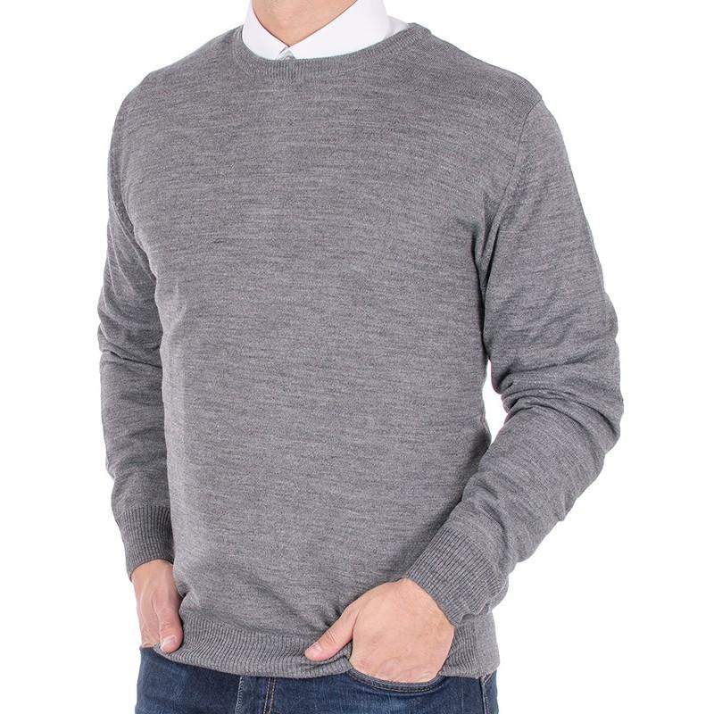 Szary męski wełniany sweter Massimo pod szyję