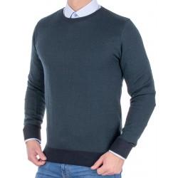 Granatowo-zielony sweter Tris Line 510PA wełna roz. M L XL 2XL 3XL 4XL