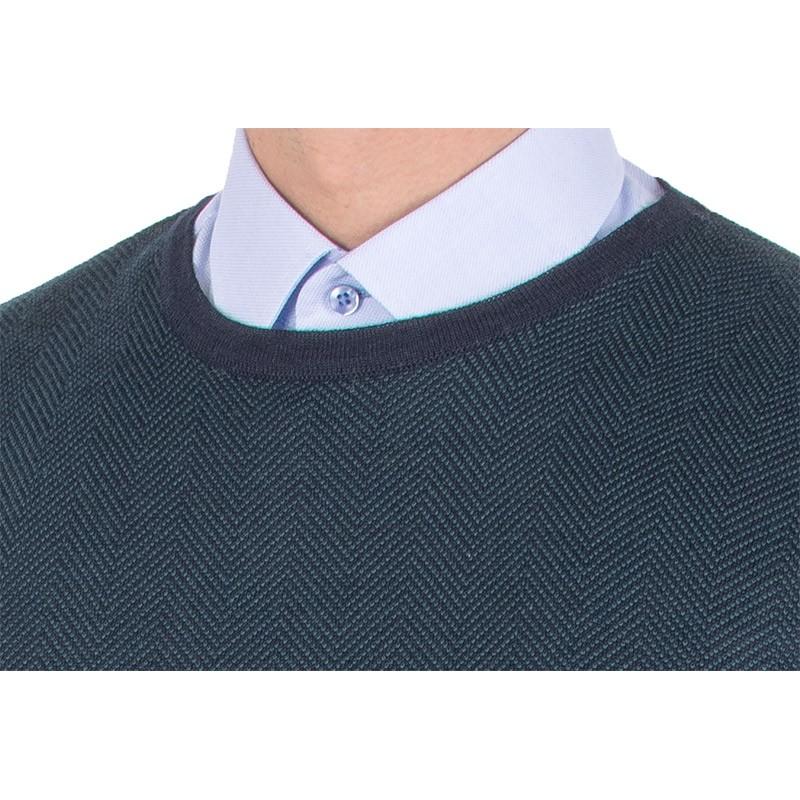 Granatowo-zielony sweter Tris Line 510PA u-neck - wełna