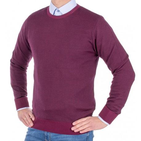 Wełniany sweter Tris Line 510PA u-neck - fuksja