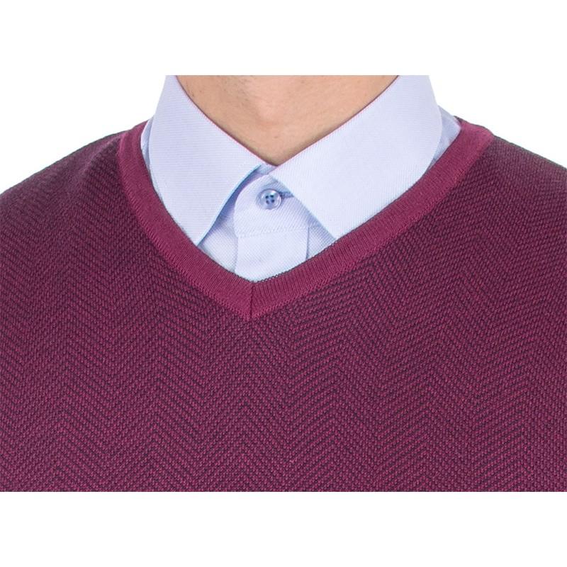 Wełniany sweter w szpic Tris Line 510V fuksja