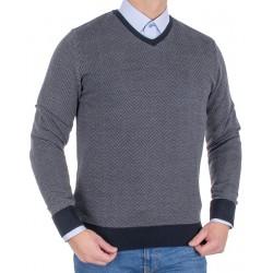 Grafitowy sweter wełniany Tris Line 510V v-neck roz. M L XL 2XL 3XL