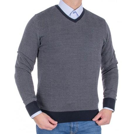 Sweter wełniany w szpic Tris Line 510V - grafitowy