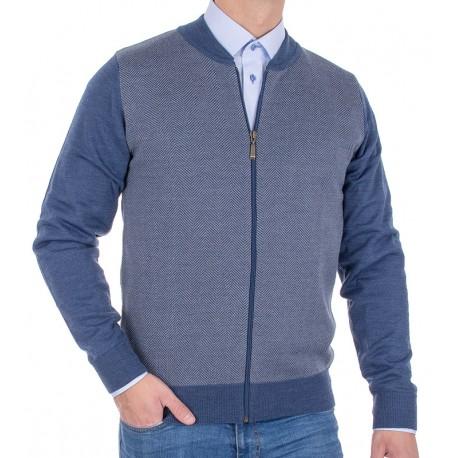 Rozpinany sweter Tris Line 510GZ wełniany w kolorze jeansu