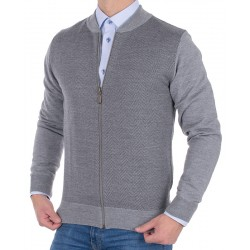 Szary wełniany sweter Tris Line 510GZ rozpinany roz. M L XL 2XL 3XL