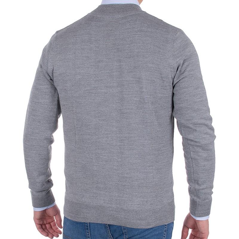 Rozpinany wełniany sweter Tris Line 510GZ szary w jodełkę