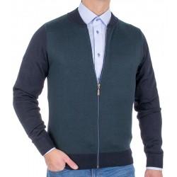 Granatowo-zielony wełniany sweter Tris Line 510GZ suwak M L XL 2XL 3XL