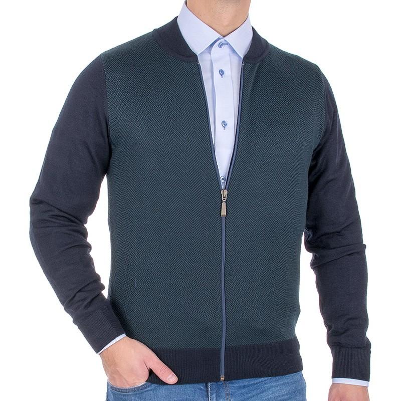 Rozpinany sweter wełniany Tris Line 510GZ - granatowo-zielony