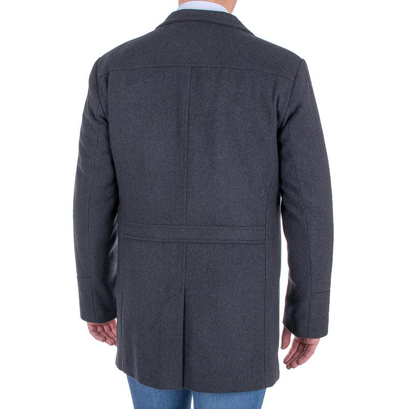 Grafitowy wełniany płaszcz Racmen 3040 Robert
