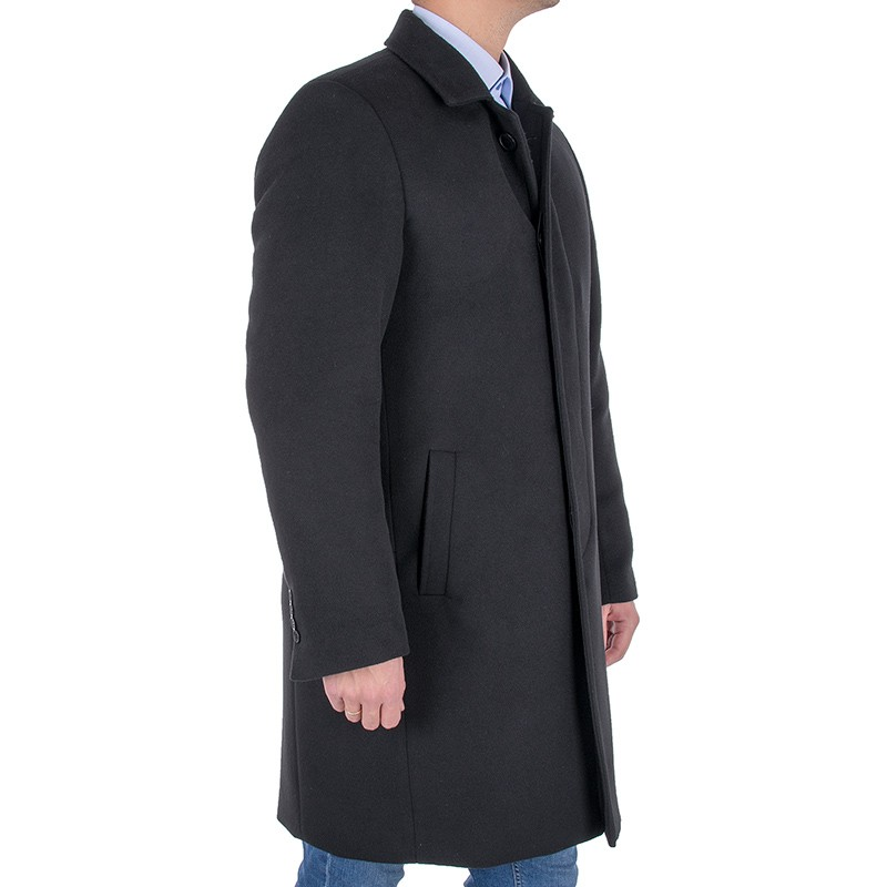 Czarny wełniany płaszcz męski Racmen 803