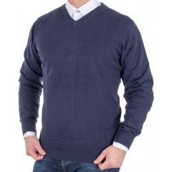Ciemnogranatowy sweter Adriano Guinari w szpic bawełna M L XL 2XL 3XL