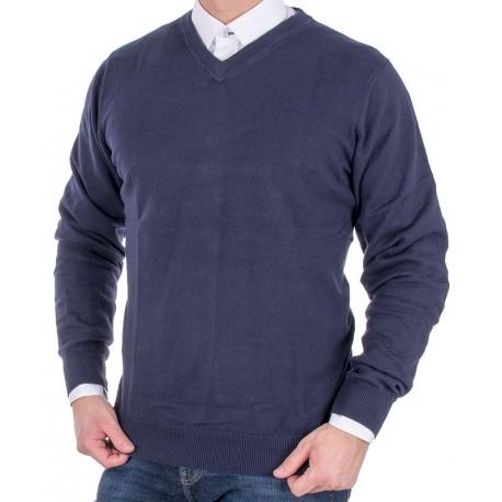 Ciemnogranatowy sweter bawełniany Adriano Guinari w szpic