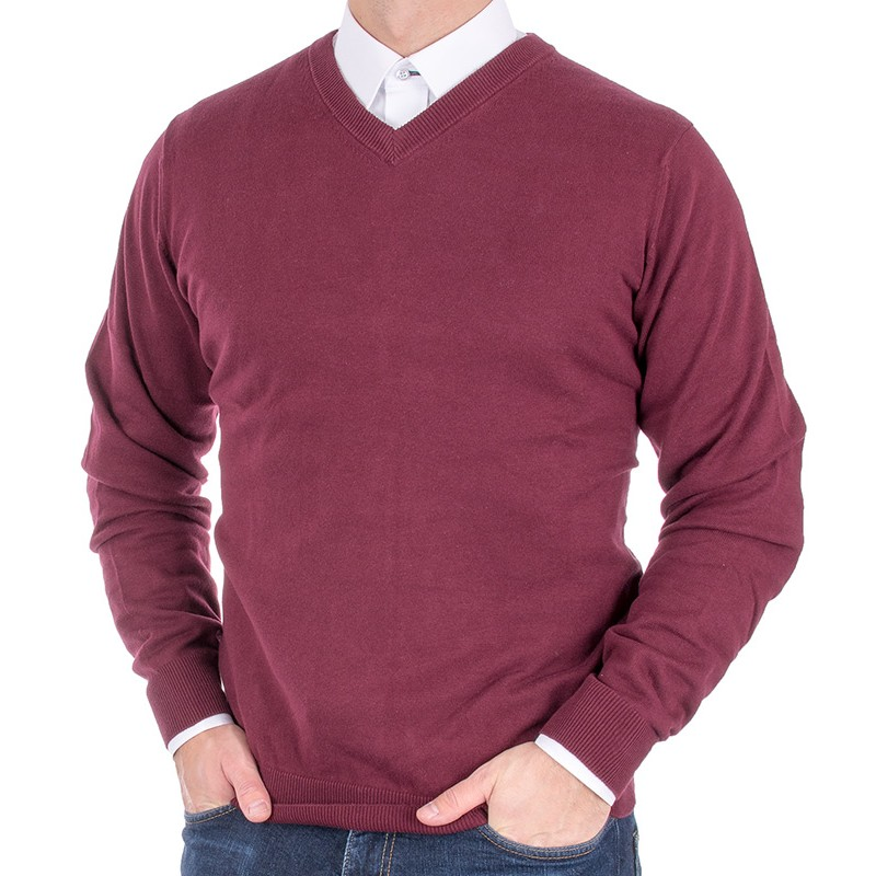 Bordowy bawełniany sweter Adriano Guinari v-neck / w serek