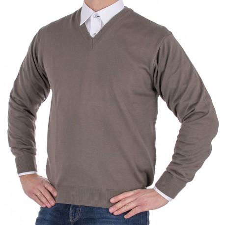 Sweter v-neck Kings 100*S-402 4006 kolor szaro-oliwkowy 360