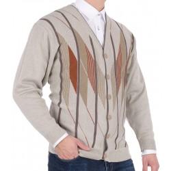 Beżowy sweter rozpinany na guzik Kings 68702 kol. 34 r. M L XL 2XL 3XL