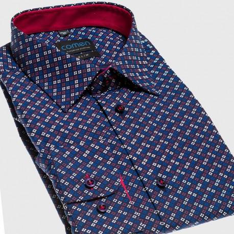 Granatowa koszula Comen z drobnym wzorem - slim