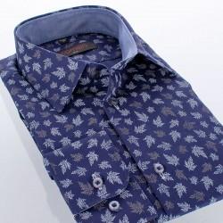 Granatowa koszula Comen dł. rękaw wzór liście 39 40 41 42 43 44 45 46