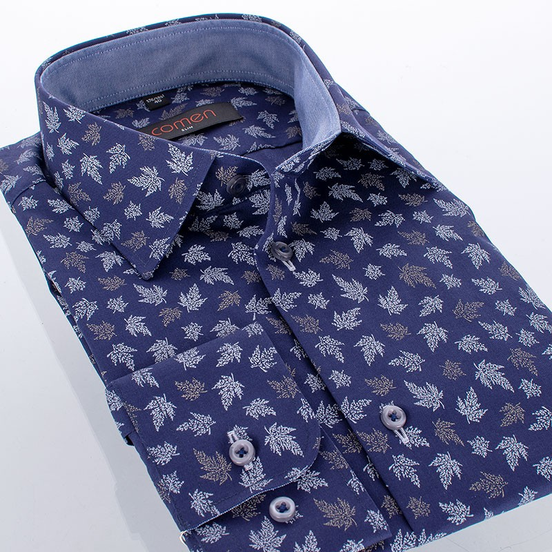 Granatowa koszula Comen długi rękaw wzór liście