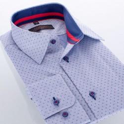 Niebieska koszula Comen dł. rękaw ze wzorem r. 39 40 41 42 43 44 45 46
