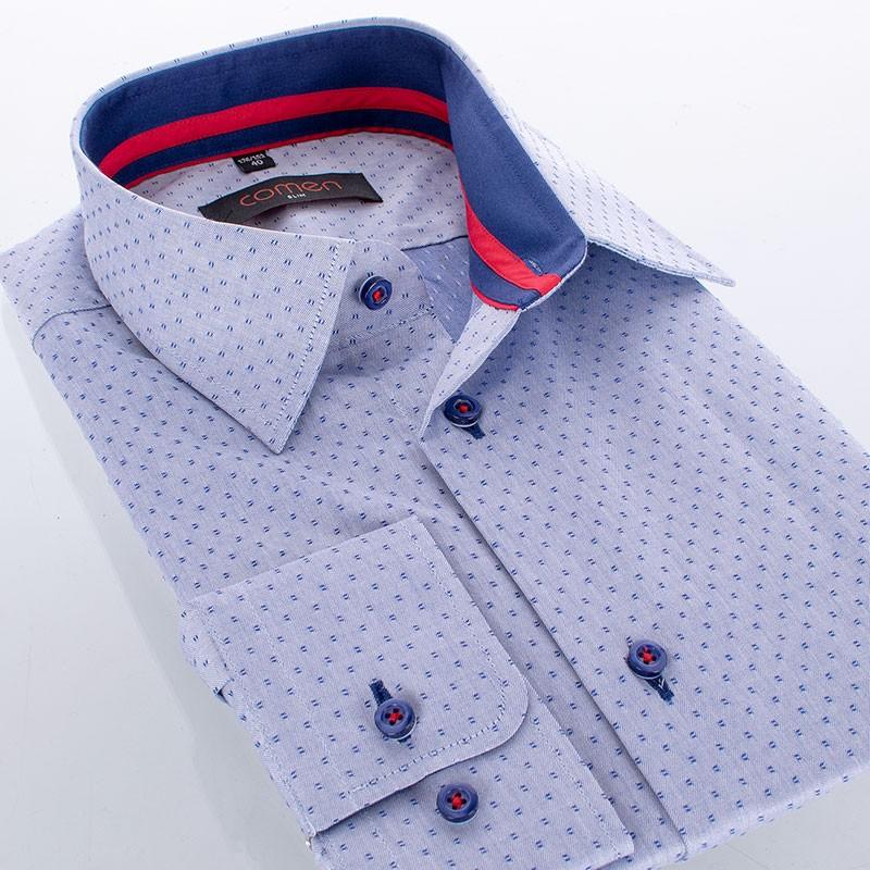 Koszula Comen dł. rękaw ze wzorem- niebieski jeans