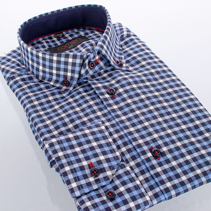 Bawełniana koszula Comen slim w granatową kratkę