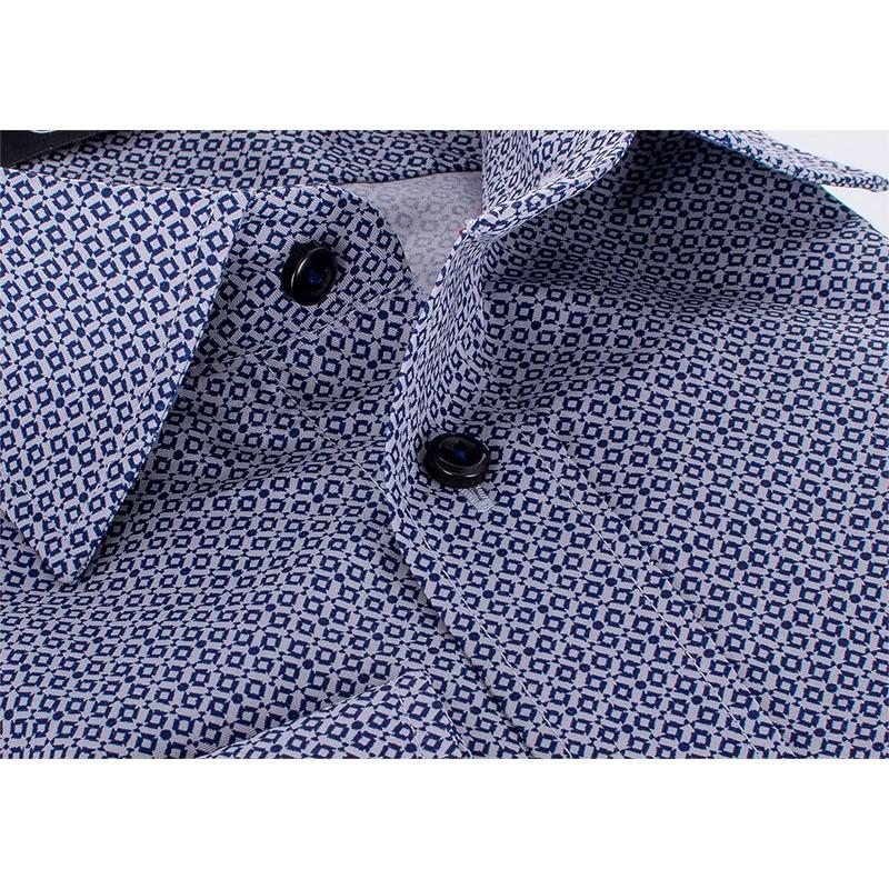 Szaro-granatowa koszula Comen ze wzorem - 100% bawełna