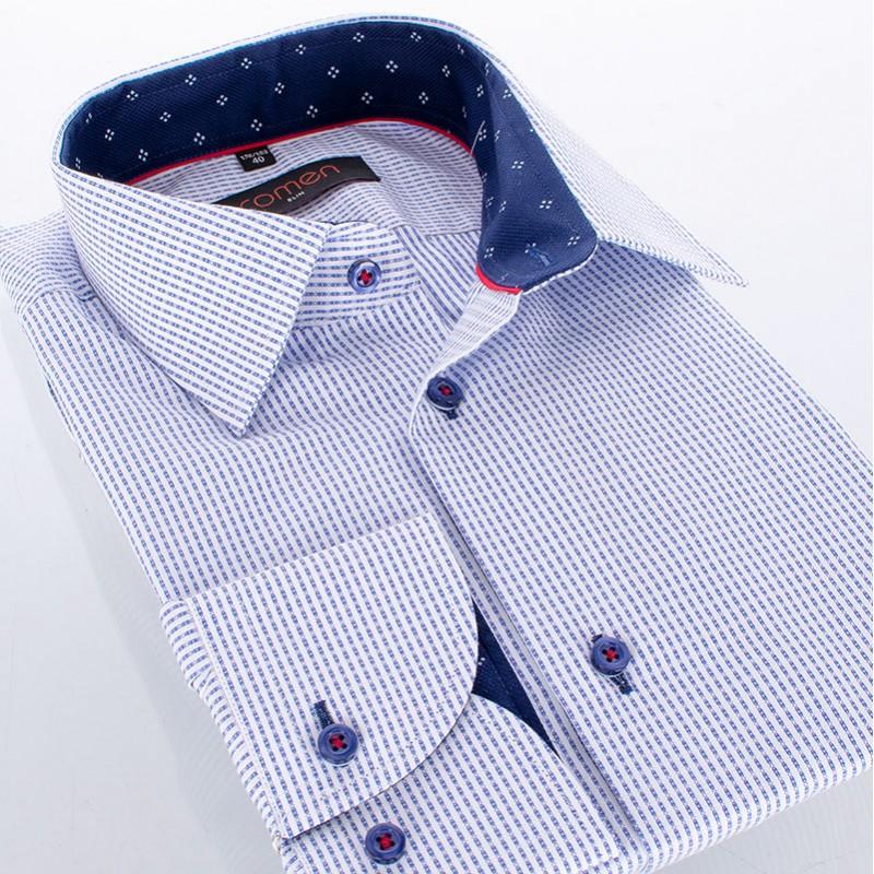 Biało-niebieska koszula Comen - wzór w podłużne prążki