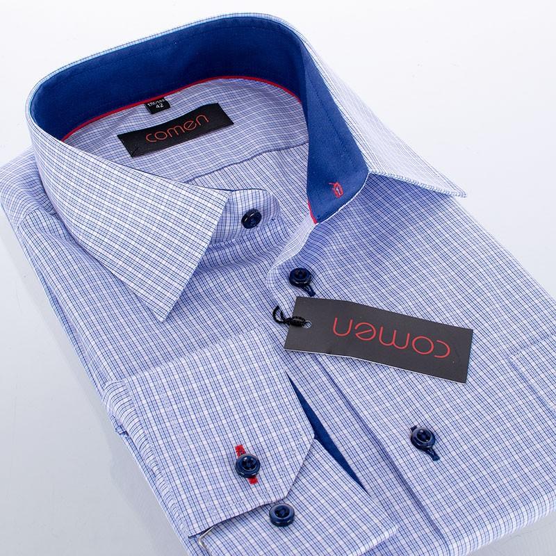 Koszula Comen slim długi rękaw niebieska kratka