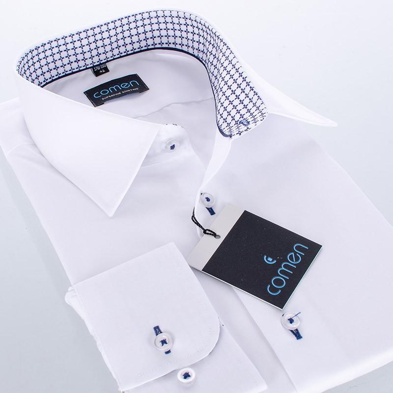 Biała bawełniana koszula Comen długi rękaw - regular