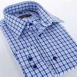 Niebieska koszula Comen z długim rękawem w kratkę - slim