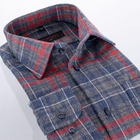 Flanelowa koszula Comen slim w kratę - szary granat czerwony