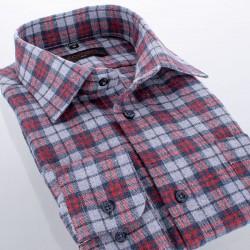 Szaro-czerwona koszula flanelowa Comen w kratę 39 40 41 42 43 44 45 46