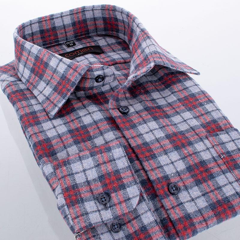 Szaro-czerwona flanelowa koszula Comen slim w kratkę