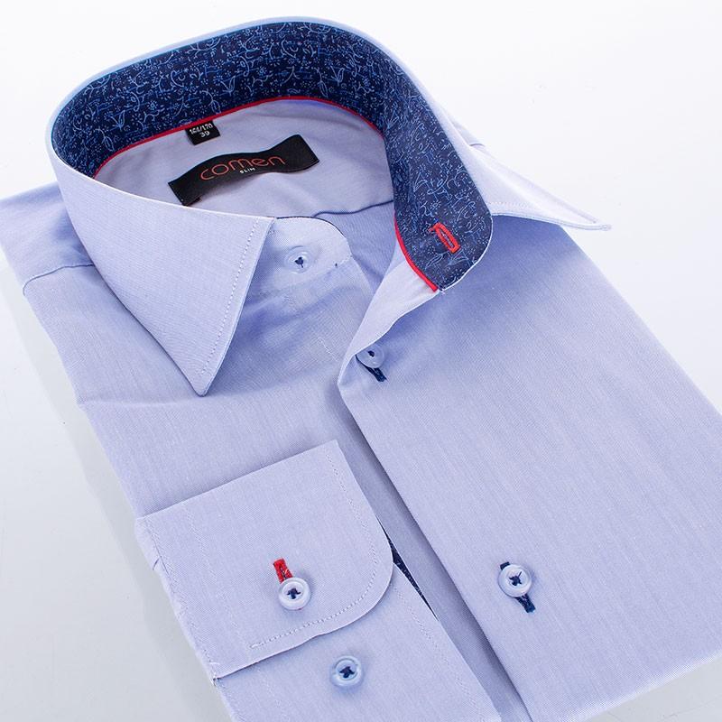 Niebieska gładka bawełniana koszula Comen slim
