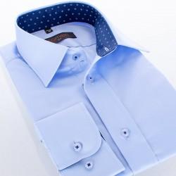 Gładka koszula Comen taliowana długi rękaw - błękitna