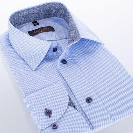 Błękitna koszula z długim rękawem Comen - drobna faktura materiału