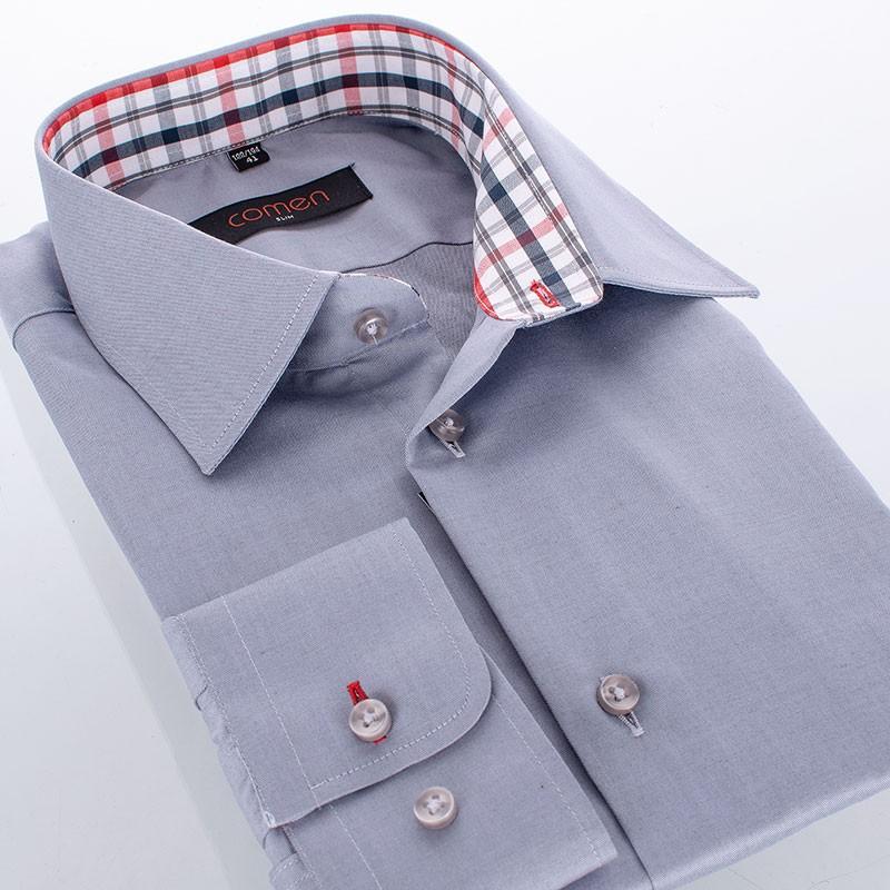 Koszula Comen z długim rękawem - gładka szara, slim