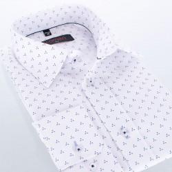 Koszula Comen z długim rękawem biała ze wzorem - slim