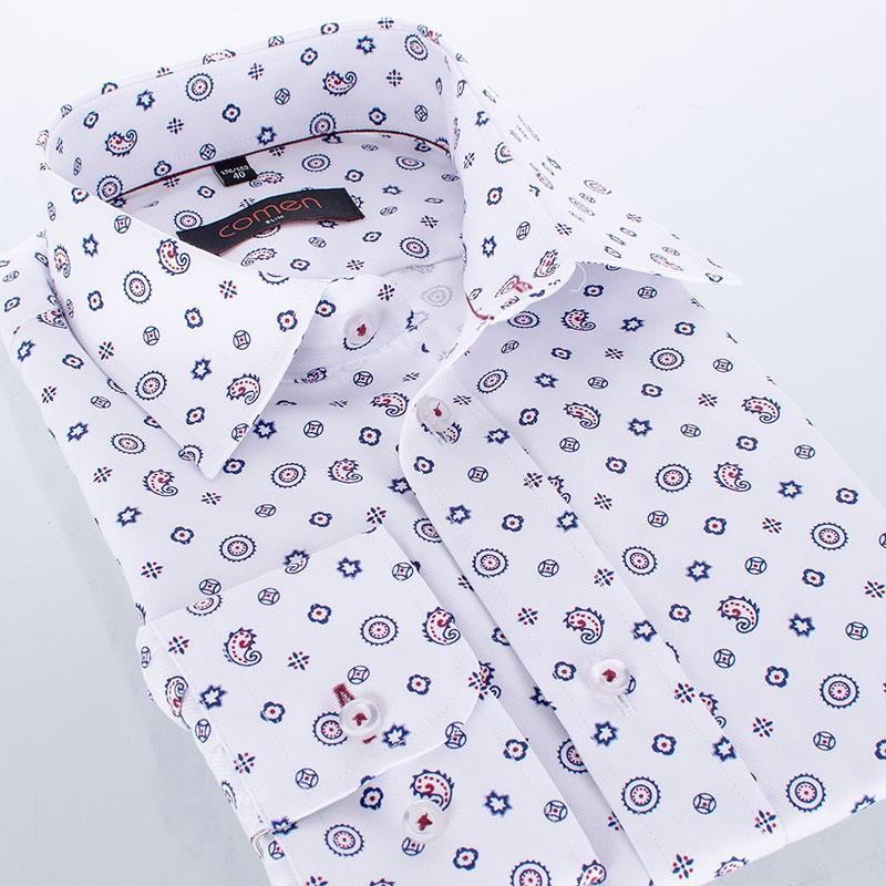 Biała koszula Comen slim długi rękaw z kolorowym wzorem paisley