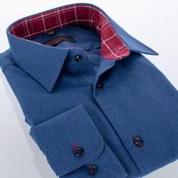 Gładka granatowa koszula flanelowa Comen długi rękaw slim