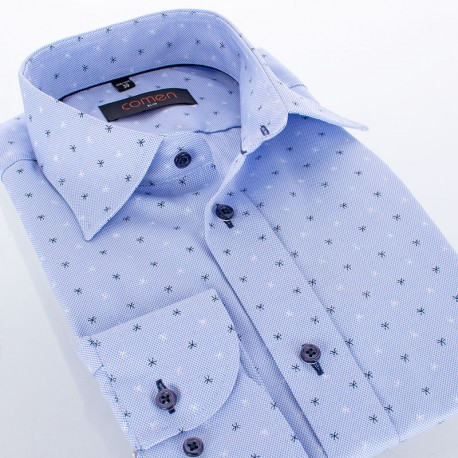 Niebieska koszula Comen ze wzorem w gwiazdki - slim