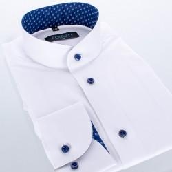 Biała koszula Comen ze stójką z długim rękawem - slim