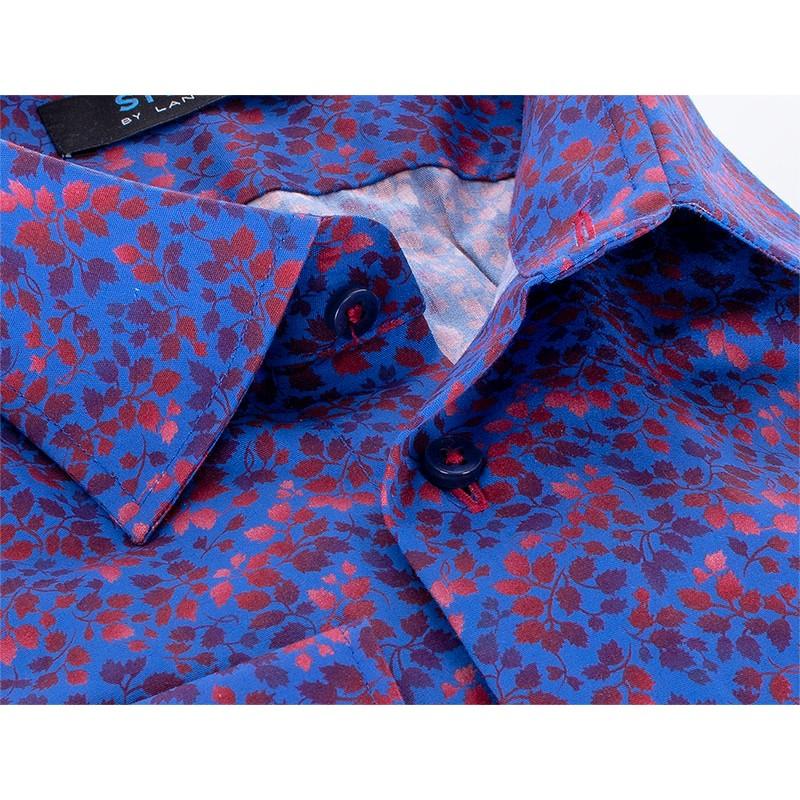 Niebiesko-chabrowa koszula Comen ze wzorem - slim
