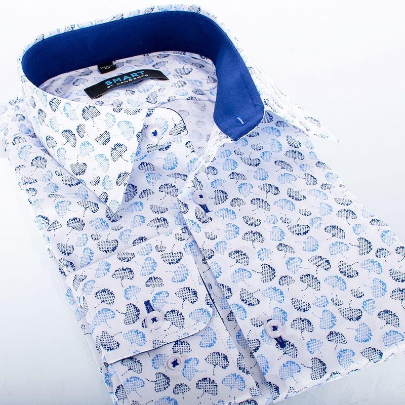 Biała koszula ze wzorem Comen dł. rękaw - liście miłorzębu
