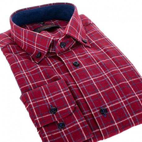 Bordowa koszula flanelowa Comen dł. rękaw w kratkę - slim