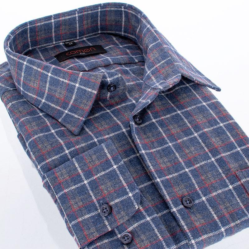 Koszula flanelowa Comen dł. rękaw - szaro-niebieska kratka