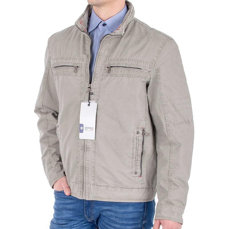 Beżowa kurtka wiosenna Issho M2060 kolor 1 - bawełniana