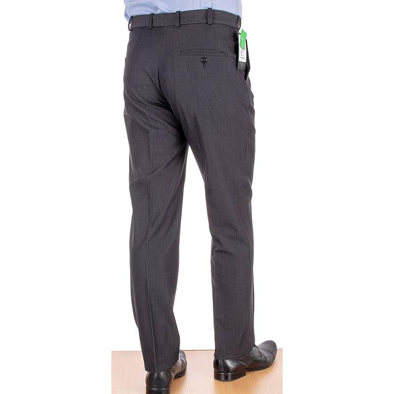 Spodnie garniturowe w kant Racmen 2562R grafitowe - sól/pieprz